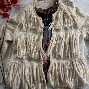 Chico's Fringe Sweater Jacket 1x